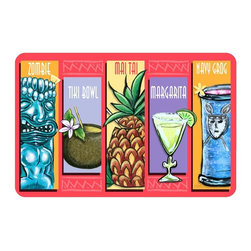 Bungalow Flooring - Tiki Drinks Cushion Mat - Made to order. Graphic mat adds comfort and style. Machine washable. For indoor use. 18 in. L x 27 in. W x 0.3 in. H