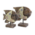 """IMAX - Kawela Mosaic Glass Fish - Set of 2 - This beautiful set of hand crafted Kawela fish have wood bodies and glass mosaic accents. Add a bohemian coastal vibe instantly with this tropical set of two. Item Dimensions: (10-12""""h x 10-11.75""""w x 4"""")"""
