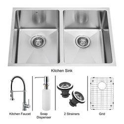 Vigo - Vigo Undermount Stainless Steel Kitchen Sink, Faucet, Grid, Two Strainers and D - Vigo keeps your needs in mind when it comes to kitchen essentials.