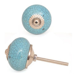 """Knobco - Ceramic Knob, Cracked Turquoise - Cracked Turquoise Ceramic Cabinet Knob,  perfect  for your kitchen and bathroom cabinets! The knob is 1.7"""" in    diameter  and includes screws for installation."""