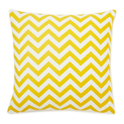 5 Surry Lane - Yellow Zig Zag Pillow - This vibrant, cheery pillow will breathe new life into any space.  The eye-catching zig zag motif adds the perfect dose of pattern and color.  Create a uniquely stunning vignette by mixing and matching with a variety of colors and patterns. Same fabric front and back.  Down feather insert included.  Hidden zipper closure.  Made in the USA.
