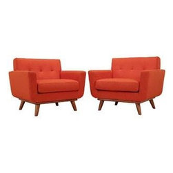 """LexMod - Engage Armchair Wood Set of 2 in Atomic Red - Engage Armchair Wood Set of 2 in Atomic Red - Gently sloping curves and large dual cushions create a favorite lounging spot. Whether plopping down after a long day at work, settling in with coffee and brunch, or entering a spirited discussion with friends, the Engage armchair is a welcome presence in your home. Seven tufted buttons create eye catching appeal; adding depth that brings your sitting decor to center stage. Four cherry color rubber wood legs and frame supply a solid base to the comfortable upholstered material. Set Includes: Two - Engage Armchair with wood Legs Cherry color rubber wood, White plastic glides, 100% polyester material, Chair Weight Capacity - 440 lbs. Overall Product Dimensions: 40""""L x 33""""W x 32.5""""H Seat Dimensions: 24.5""""L x 27.5""""W x 19""""H Armrest Dimensions: 4.5""""W x 6.5""""HBACKrest Dimensions: 6""""L x 17.5""""H Cushion Thickness: 6""""H - Mid Century Modern Furniture."""