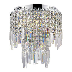 Lite Source - Lite Source Helanie Modern / Contemporary Flush Mount Ceiling Light X-72105-LE - Delicate panel crystal shades feature staggered prism curtain with modern chrome finish metal frame brings an exquisite illumination to any setting.