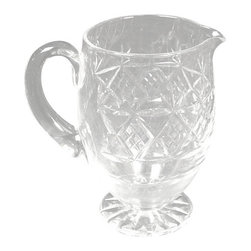 Antiques - Vintage English Cut Glass Water Pitcher - This is a beautiful vintage English cut glass water pitcher. It has a lovely rim and thick handle and it features a gorgeous cut glass design around its surface and bottom of base. It may show some minor sign of wear but otherwise it is in very good condition.