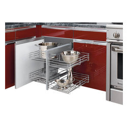 "Rev-A-Shelf - Rev-a-Shelf Chrome Blind Corner Cabinet Organizer - Great product idea for the hard to reach area deep inside your corner cabinets. This could be the perfect accessory for maximizing storage space in your kitchen. The unit can be installed in both a left or right hand cabinet space. The Rev-A-Shelf 5PSP-15-CR Chrome Blind Corner Cabinet Organizer features wonderful chrome accents that are sure to match any kitchen's decor! Rev-A-Shelf blends function with style and ease-of-use for a must-have cabinet organizer that will enhance your kitchen! Physical specifications: 26-1/4"" W x 20-1/4"" D x 21"" H. Requires 15"" Minimum Cabinet Width Opening, 20-1/4"" Minimum Inside Cabinet Depth, and 21"" Minimum Cabinet Height Opening. Recommended not to exceed 20 lbs. per basket."