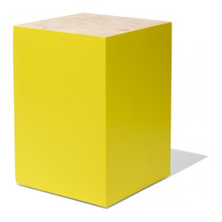 Industry West - Complex Table Stool - Zinc - The Complex Stool is is characterized by a dynamic combination of hand painted solid Fir and beautiful end grain, natural surface. This multipurpose piece can be used as a side table or stool. Its clean lines and bold colors will add a refined contemporary feel to any space.