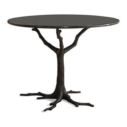 Kathy Kuo Home - Bijou Global Bazaar Black Tree Branch Iron Marble Petite Dining Table - Contrasting the textures of a rough, iron tree branch with sleek, polished black marble, this petite piece belongs in an art gallery. Whether it finds a home in your entryway or breakfast nook, this beautiful, round accent brings the best of both modern and rustic styles to the table.
