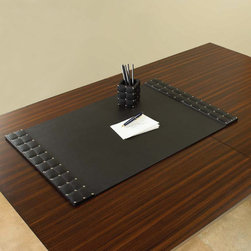 """Global Views - Global Views Black Desk Blotter - Global Views' chic black desk blotter sets the stage for a productive day at the office. With small silver nailheads accenting its quilted edges, this leather desk accessory offers a sophisticated way to stay organized. 20""""W x 32""""D x 0.5""""H; Quilted leather; Small silver nailheads"""