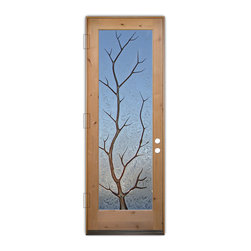 Sans Soucie Art Glass (door frame material T.M. Cobb) - Glass Front Entry Door Sans Soucie Art Glass Branch Out in Color - Sans Soucie Art Glass Front Door with Sandblast Etched Glass Design. Get the privacy you need without blocking the light, thru beautiful works of etched glass art by Sans Soucie!  This glass is semi-private.  (Photo is view from outside the home or building.)  Door material will be unfinished, ready for paint or stain.  Bronze Sill, Sweep and Hinges. Available in other sizes, swing directions and door materials.  Dual Pane Tempered Safety Glass.  Cleaning is the same as regular clear glass. Use glass cleaner and a soft cloth.