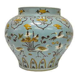 Golden Lotus - Handmade Chinese Clay Pastel Blue Crane Motif Painted Vase - This case has light blue base color and hand-painted thick pigment cranes and floral motif. Crane symbolizes long lift in the Chinese culture.