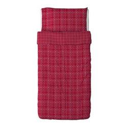 ALVINE RUTOR Duvet cover and pillowcase(s) - Duvet cover and pillowcase(s), red, white