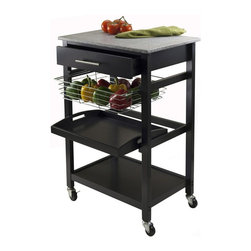 Winsome Wood - Utility Cart with Foldable Metal Basket - Includes one drawer, removable serving tray and fix bottom shelf. Casters for mobility. Granite top for easy to clean. Plenty of functions. Made from granite and wood. Black finish. Assembly required. Granite top: 22.68 in. W x 15.75 in. D. Inside drawer: 17.80 in. W x 12.40 in. D x 2.4 in. H. Foldable wire basket: 15.96 in. W. Removable tray: 17.28 in. W x 12.54 in. D x 1.22 in. H. Overall: 22.68 in. W x 16.06 in. D x 34.13 in. H