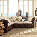 Seagrass Five-Piece Sectional - This seagrass sectional lends itself to a cottage, covered porch or sunroom. It adds a lot of texture to a space.