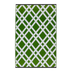 Fab Habitat - Dublin Rug, Lime Green & White (5' x 8') - Vibrant and ultramodern, this eco-chic rug will bring verve to any floor you place it on. Crafted using Fair Trade principles, this rug is an interior design statement you can feel good about. Its unique geometric pattern is created using high quality recycled woven plastic straws, and comes in a variety of bright colors and sizes. This innovative, diamond patterned rug is made of all-weather materials, and therefore ready for use indoors or out!