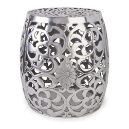 iMax - iMax Paige Aluminum Garden Stool X-19906 - The modern floral pattern featured on the Paige aluminum garden stool adds a contemporary shine to any display.