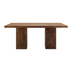 Tao Large Dining Table - The simple elegance of solid acacia wood embraces a clean, contemporary silhouette to set the stage for a rustic yet elegant dining space--the Tao Dining Table. And because this wonderfully rich timber is plantation grown, we're helping preserve and protect natural forests. Oversized legs enhance the chunky, angular silhouette. The pedestals are recessed for a sleek, modern profile while also allowing extra chairs to be squeezed around the table when extra space is needed.