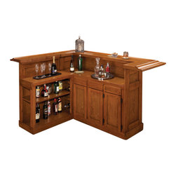 Hillsdale Furniture - Hillsdale Classic Oak Large Bar with Side Bar - The Hillsdale Classic Oak large bar with side bar will be a beautiful addition to your living room. This bar is made of oak and finished in an attractive oak veneer. Large cabinets and drawers provide ample space for your wine and liquor collection. There are matching stools available that have comfortable padded and swivel seats.