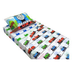 Jay Franco and Sons - Thomas Train Ride Rails Twin Bed Sheet Set - Features: