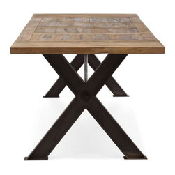 Haight Ashbury Table - The Haight Ashbury table's intricate elm table top design and antiqued trestle base create a statement piece for any dining room. Some assembly required.