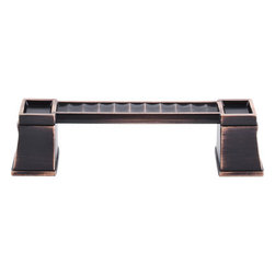 """Top Knobs - Great Wall Pull 4"""" (c-c) - Tuscan Bronze - Length - 5 1/16"""", Width - 1"""", Projection - 1 1/4"""", Center to Center - 4"""", Base Diameter - W 1 3/16"""" x L 15/16"""""""