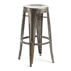 Christophe Stool, Gunmetal - This stool is super sturdy and made with grade-A steel. I love the narrowing legs.
