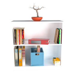 Inval America - Laricina-White Bookcase/Hutch - The bookcase has two deep shelves which can hold files or books, while the bookcase's surface is ideal for an office printer, pictures, or knick-knacks. It can be used as a stand alone bookcase or as a hutch.