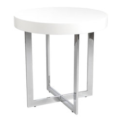 Eurostyle - Eurostyle Oliver Round Side Table in White Lacquer and Chrome - Eurostyle - End Tables - 28052A28052BKIT