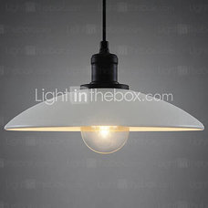 60W Contemporary Chic Pendant Light with Minimalist White Metal Shade - GBP £ 83