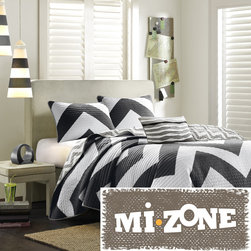 Mi-Zone - Mizone Virgo Black Chevron Reversible 3-piece Quilt Set - Crafted with 100-percent polyester microfiber,this ultra-soft quilt set will add bold modern style to any bedroom. Featuring a trendy chevron pattern on each side,this reversible quilt set is machine washable for easy care.