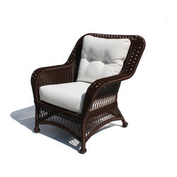 Wicker Paradise - Outdoor Wicker Chair - Princeton Shown in Chocolate Brown - ALL WEATHER Wicker!  Maintenance free premium outdoor vinyl wicker. Framed on Aluminum   Wicker Available in Crisp White or Rich Chocolate Brown Color Choose from over 100 designer outdoor fabrics!