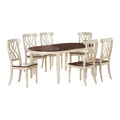 Monarch Specialties 8 Piece 60x42 Dining Room Set in Antique White