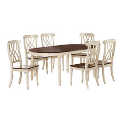 Monarch Specialties - Monarch Specialties 8 Piece 60x42 Dining Room Set in Antique White - Finished in a walnut veneer, this traditional dining table will create the perfect look for intimate dinners or casual get togethers. The rectangular shaped piece features curved edges, turn post legs, and is brushed in an antique white color. This table has a simple yet stylish look that can blend into any decor. These armless dining chairs compliment the style of the dining table with their sleek lines and antique white finish. With turn post legs and a unique interlacing curve motif, these pieces are completed with a warm, walnut colored seat. This antique white display server has two shelves enclosed in glass doors making this piece ideal for storing kitchen supplies. With a walnut veneer top, this simple server will give your home a stylish update. What's included: Table (1), Side Chair (6), Server (1).