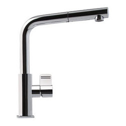 Franke  Single Handle Kitchen Faucet with Pullout Stream - This faucet is really a classic form, IMHO, a clean form and nicely integrated pull-out spray. Will work really well in any number of modern or contemporary designs.