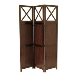 Deluxe Comfort - Bergen Three-Panel Room Screen - Bergen by top, 3-Panel all wood room divider is finished in warm Walnut color with all wood framed. It is finished on both sides, folds flat for storage and transport. Create privacy in an instant. Overall open size is 52.44-Inch Width by 0.79-Inch Depth by 70-Inch Height. Folded is 17.4-Inch Width by 2.3-Inch Depth by 70-Inch Height. Each screen panel is 17.48-Inch Width.