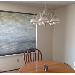 Cellular Shades - This grasshopper green cell shade adds a splash of color to this Kent, WA condo.