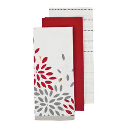Ladelle - Mika White Kitchen Towels, Set of 3 - The Mika kitchen textiles collection is inspired by Japanese wood block printing. Featuring metallic print and pintucking detail, the collection includes an apron, oven mitts, pot holders and kitchen towels, available separately.