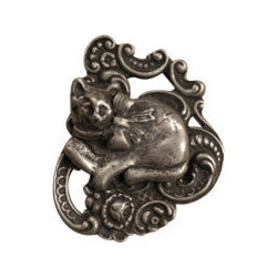 Anne at Home Hardware - Calico Cat On Pillow Knob, Black w/ Chocolate Wash - Made in the USA - Anne at Home customized cabinet hardware enables even the most discriminating homeowner to achieve the look of their dreams.  Because Anne at Home cabinet hardware is designed to meet your preferences, it may take up to 3-4 weeks to arrive at your door. But don't let that stop you - having customized Anne at Home cabinet knobs and pulls are well worth the wait!   - Available in many finishes.