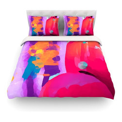 """Kess InHouse - Oriana Cordero """"Vespa II"""" Pink Purple Cotton Duvet Cover (Twin, 68"""" x 88"""") - Rest in comfort among this artistically inclined cotton blend duvet cover. This duvet cover is as light as a feather! You will be sure to be the envy of all of your guests with this aesthetically pleasing duvet. We highly recommend washing this as many times as you like as this material will not fade or lose comfort. Cotton blended, this duvet cover is not only beautiful and artistic but can be used year round with a duvet insert! Add our cotton shams to make your bed complete and looking stylish and artistic! Pillowcases not included."""