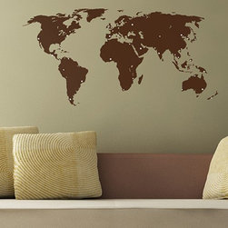 Binary Box - World Map Wall Sticker - The World Map Wall Sticker is the perfect centrepiece for any globe-trotter's home. Coming complete with positionable dots in a range of sizes, you can use this wall sticker to plan your next round-the-world trip, make a record of where you have already visited, and even attach photographs of your most memorable holidays. Even if you're not planning on going away, this wall sticker is a stunning focal point in any room.
