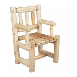 Captains Chair - Rustic Cedar - This attractive log-style captains chair is smooth sanded for extra comfort and lasting beauty. Captains Chair pairs nicely with any of our Dining Room tables in our fine cedar furnishings collection. The solid cedar construction ensures years of carefree use.