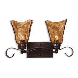 Uttermost - Uttermost Vetraio 2 Light Bronze Vanity Strip 22800 - Heavy hand made glass is held in classic European iron works giving these pieces a contemporary quality, with strong traditional appeal as well.