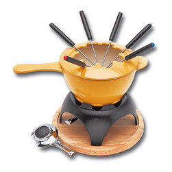 Paderno World Cuisine - Blue Fondue Set - This Paderno World Cuisine blue fondue set comes with a 1 1/2 quart enameled fondue pot, a black cast iron base, a round wooden protective tray, a nickel burner and six color tipped fondue forks. The burner can is both gel and alcohol compatible. Shown in Yellow.