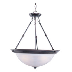 Essentials - 584x-Invert Bowl Pendant - This Three Light Up Pendant is part of the Essentials Collection and has an Oil Rubbed Bronze Finish and Marble Glass. It is Dry Rated.