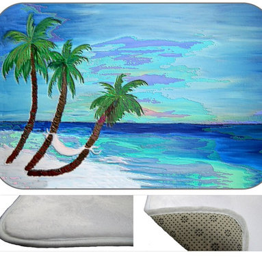 Palm Island Deco, 30X20 - Bath mats from my original art and designs. Super soft plush fabric with a non skid backing. Eco friendly water base dyes that will not fade or alter the texture of the fabric. Washable 100 % polyester and mold resistant. Great for the bath room or anywhere in the home. At  1/2 inch thick our mats are softer and more plush than the typical comfort mats.Your toes will love you.