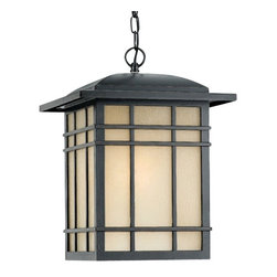 Quoizel Lighting - Hillcrest Hanging Outdoor Light - HC1913IB - Includes 8 feet of chain. Takes (1) 150-watt incandescent A21 bulb(s). Bulb(s) sold separately. ETL listed. Dry location rated.