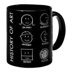 MoMA - MoMA History of Art Mug - Based on an illustration created by Donald Seitz in 1991, this mug outlines the history of art with smiley faces appropriately altered in the styles of famous artists. The History of Art Mug playfully references the likenesses of many influential artists featured in the Museum's collection. Dishwasher and microwave-safe.