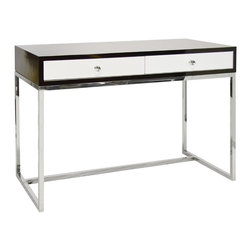 Worlds Away - Worlds Away William Rosewood & White Lacquer Desk w/ Stainless Steel Base - On Stainless BaseDrawers on glides