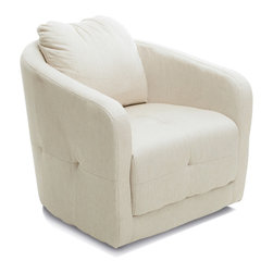 Great Deal Furniture - Bernhoft Swivel Fabric Armchair, Beige - The Bernhoft Swivel Chair offers a unique spin on the average club chair. With a swivel feature built underneath, this chair is fun and comfortable for lounging. Its sleek design makes it versatile for any room and the well padded seat and backrest provides great comfort without sacrificing style.