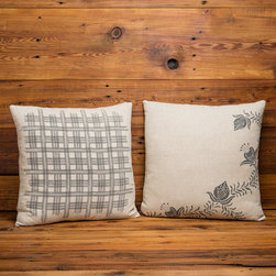 Cricket Radio Vermont Shelburne Home Linen Collection - Cricket Radio's Shelburne Collection. Our Shelburne Plaid and Floral pattern is handprinted on heavyweight sustainable Italian linen. These generous 20 inch square throw pillows have zipper closure are pre-washed and preshrunk. They come complete with a 10/90 down insert.