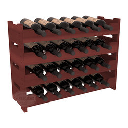 Wine Racks America - 24 Bottle Mini Scalloped Wine Rack in Redwood, Cherry Stain - Stack four 6 bottle racks with pressure-fit joints for proper storage of 24 wine bottles. This rack requires no hardware for assembly and is ready to use as soon as it arrives. Makes the perfect gift and stores wine on any flat surface.